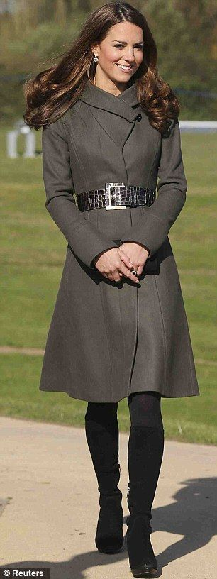Duchess Catherine in Reiss coat & belt, Aquatalia boots, and Kiki McDonough green amethyst earrings,  October 2012