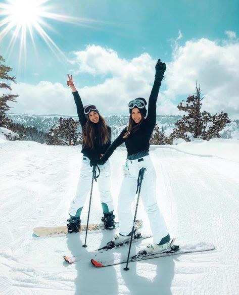 Ski fashion and ski outfit ideas for stylish women that want to look snow bunny cute to hit the slopes for winter 2019 - 2020. What will you wear to ski this year? Here are some ski outfit ideas for inspiration. Great for snowboarding, apres ski, Aspen, Vail, and beyond. Stay warm by adding chic layers in all black, all white, or a pop of neon color. Add a helmet, ski mask, and sun shades to match.
