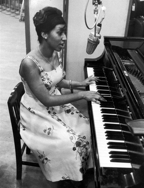Music and motherhood. Franklin was just 19 during this 1961 recording session for Columbia Records in New York. She had her first children when she was just 13 and then 16, and in a throwback to her own childhood, they were cared for by her grandmother while she pursued a musical career.