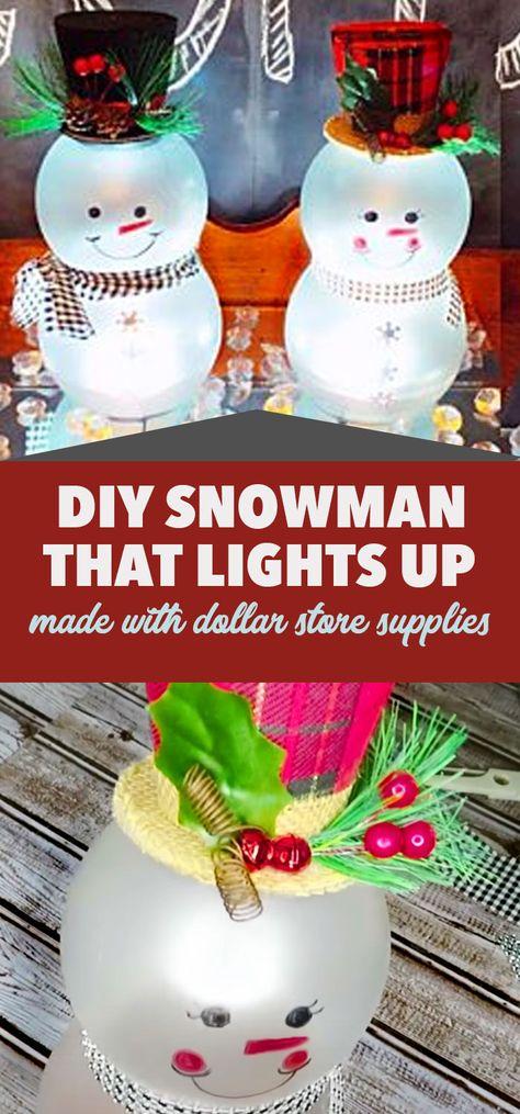 Dollar Tree DIY: Holiday Snowman That Lights Up