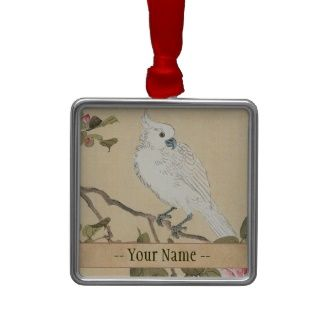 Bird and Flower Album, Cockatoo and Camellia Christmas Ornaments #Bird and Flower Album, #Cockatoo and #Camellia #Matsumoto #Keibun #japanese #oriental #customizable #gifts and #accessories from Zazzle #gift #art #vintage #parrot #Japan #flower