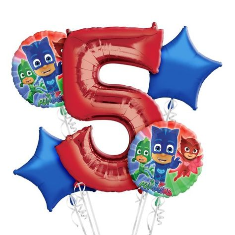 PJ Masks 5 Balloon Bouquet Party Decor Supplies