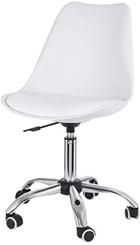 New Lalaly White Desk Chairs With Wheels Modern Pu Leather Office Chair Mid Back Adjustable Home Computer Executiv In 2020 Office Chair Desk Chair Leather Office Chair