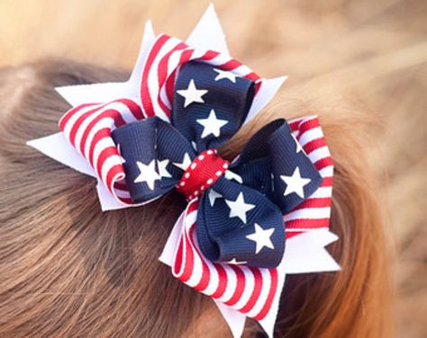 USA Stacked Boutique Red White /& Blue Hair Bow Toddler Girl White Star America
