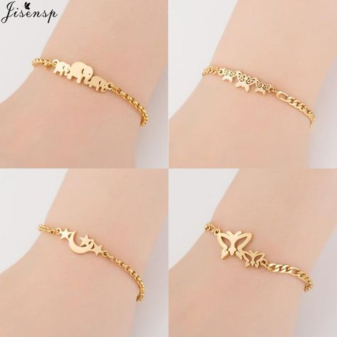 Jisensp Gold Stainless Steel Animal Bracelets for Women Everyday Jewellery Butterfly Charm Bracelet Femme Wedding Gift-in Chain & Link Bracelets from Jewelry & Accessories