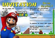 invitation anniversaire mario