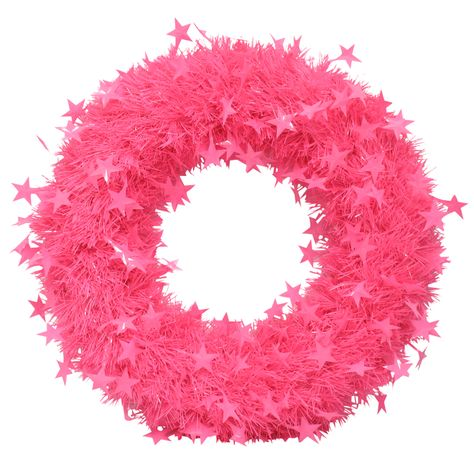 Pink tinsel wreath