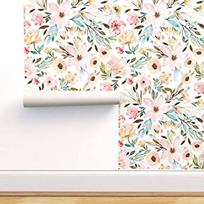 Spoonflower Peel And Stick Removable Wallpaper Watercolor Botanicals Floral Flowers Spring Baby G Floral Wallpaper Peel And Stick Wallpaper Stick On Wallpaper
