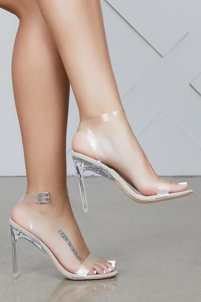 New Womens Clear Transparent High Heel Stiletto Platform Open toe Slippers Shoes