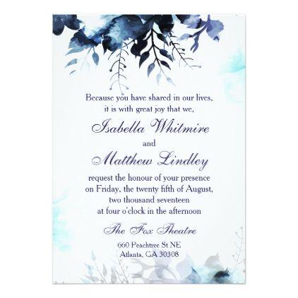 Blue Garden Watercolor Floral Wedding Invitation