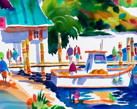 Florida Lighthouse Print Key West Art Tropical Art Colorful Art