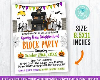 Halloween Block Party 2020 Florida Editable Templates Instant Download & Custom by sympartyprintables