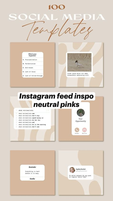 neutral pinks Instagram feed inspo