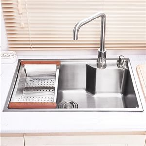 deep single bowl kitchen sink with