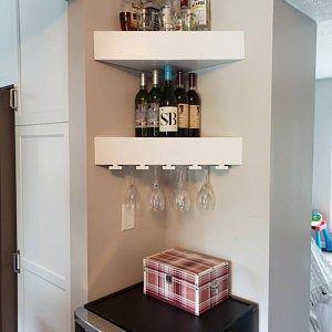 Corner Floating Shelves Corner Shelf Corner Shelves Etsy In 2020 Corner Wine Rack Wine Rack Wall Wood Wine Racks