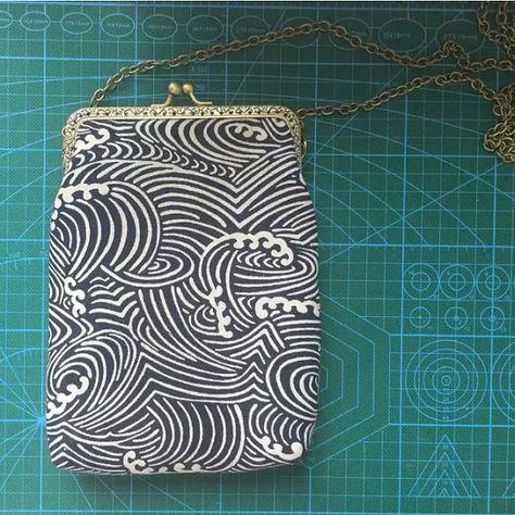 Perdu dans Kyoto Collection tissu traditionnel japonais vague bleu/blanc forme/vert petit embrayage