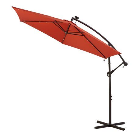 Better Homes Gardens Canyon Lake 10 Red Round Cantilever Patio Umbrella With Solar Lights Cantilever Patio Umbrella Patio Umbrella Better Homes Gardens
