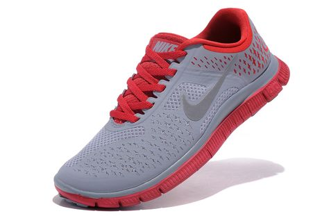 Mens Nike Free 4.0 V2 Shoes Grey Red | Grey nike running