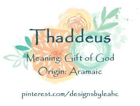 Baby Boy Name Thaddeus Meaning Gift Of God Origin Aramaic Babyname