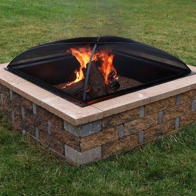 24 Steel Square Mesh Fire Pit Spark Screen Black Sunnydaze Decor In 2020 Fire Pit Spark Screen Fire Pit Backyard Backyard Fire