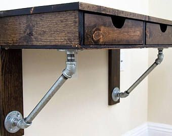 Wall Mounted Desk Floating Desk Solid Wood Iron Brackets Industrial And Rustic Look Choice Of Variou Writing Desk Modern All Modern Furniture Wall Mounted Desk