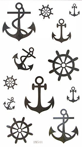 MapofBeauty Temporary Water Rudder Anchor Tattoo Sticker 2 pcslot >>> Want to know more, click on the image. Note:It is Affiliate Link to Amazon.