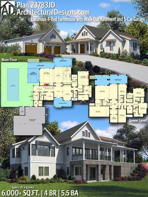 Plan 23783jd Luxurious 4 Bed Farmhouse With Walk Out Basement And 5 Car Garage House Design House Plans 6 Bedroom House Plans