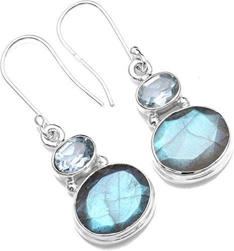 Silver Palace 925 Sterling Silver Natural Labradorite Pendants for Women and Girls