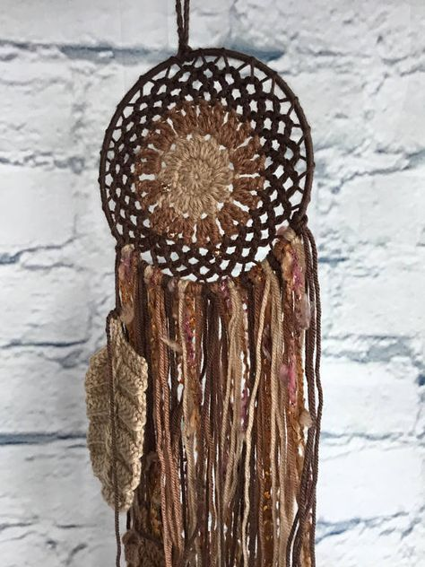 Dream Catcher Crocheted in Browns and Tans Feathers Wall
