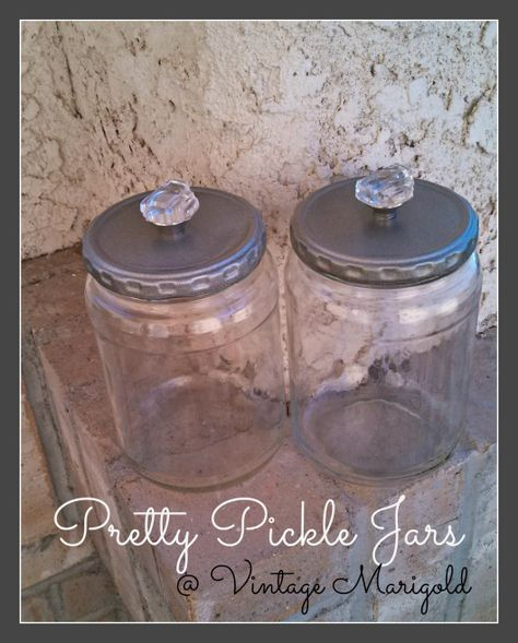 Pickle Jars craft. We should have an over abundance of these soon! Great Ideas -- 20 Projects to Get You Organized!