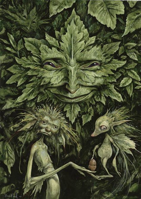 """The Greenman or Cernunnos/Herne, the Hunter . """"Green Man"""" by Artist and Author Brian Froud Brian Froud, Magical Creatures, Fantasy Creatures, Fantasy Kunst, Fantasy Art, Herne The Hunter, Illustrator, Arte Fashion, Psy Art"""