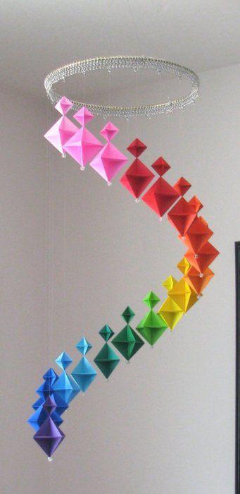 Origami Mobile #origami #diy #rainbow