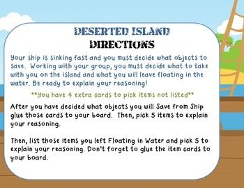 Deserted Island A Needs And Wants Activity Desert Island Island Survival Island
