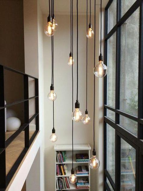 High Ceiling Lighting, Stairway Lighting, Entryway Lighting, Ceiling Light Fixtures, Interior Lighting, Home Lighting, Lighting Ideas, Hanging Light Fixtures, Lighting Design