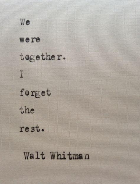 Walt Whitman quote hand typed on antique typewriter