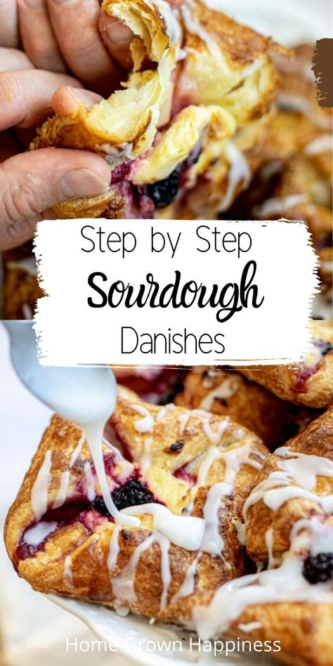 So buttery, flaky and perfectly layered. These sourdough danishes have step by step instructions. Sourdough Starter Discard Recipe, Sourdough Recipes, Sourdough Bread, Bread And Pastries, Danish Pastries, Pastry Recipes, Dessert Recipes, Cooking Recipes, Cooking Tips