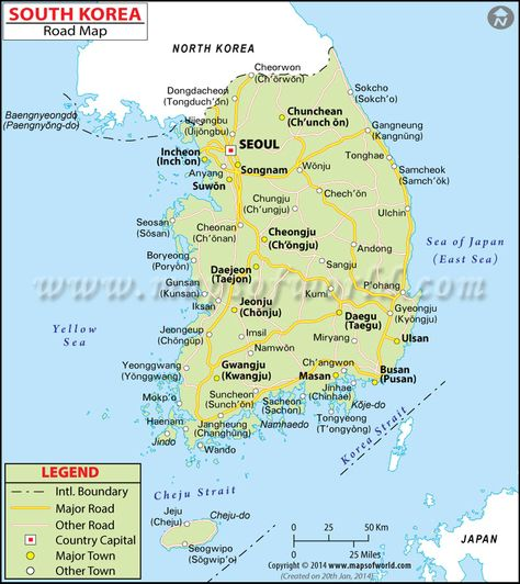 South Korea Road Map South Korea Map South Korea Travel