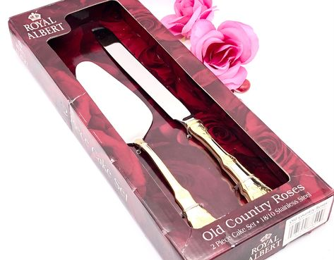 Excited to share this item from my #etsy shop: NIB 2pcs Pie Cake Server Knife Gold Accent Flatware Royal Albert Old Country Roses Wedding Bridal Floral Flowers Serving #royaldoulton #fancyelegant #thedrippingtap #goldaccentcutlery #dinnerware #servingutensils #goldsilverware #flowerpattern #bridalwedding
