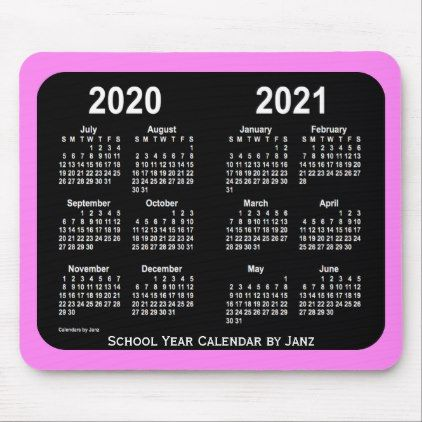 2020 2021 School Year Calendar By Janz Violet Neon Mouse Pad