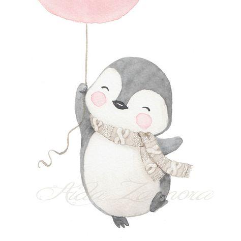 """1,529 Me gusta, 11 comentarios - Illustrator & muralist (@aidazamorailustracion) en Instagram: """"Nueva lámina infantil de la colección INVIERNO! Un pingüino feliz con globo a elegir entre rosa y…"""""""
