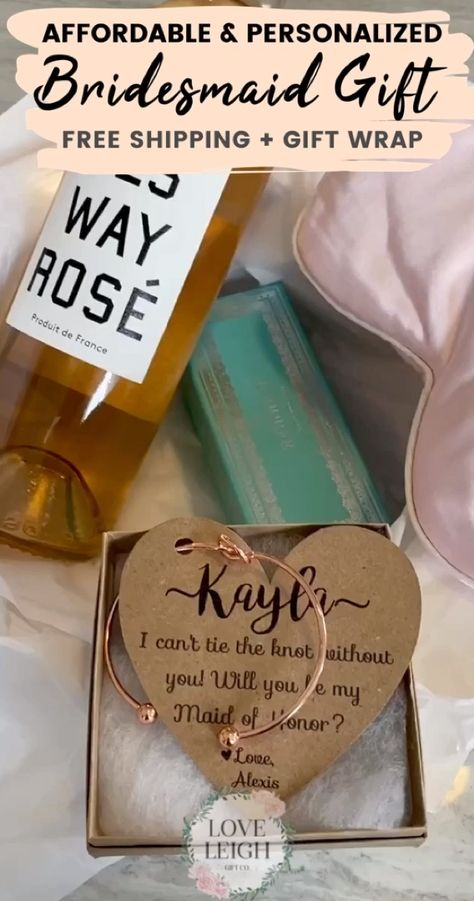 """Affordable & personalized bridesmaid gift that is the perfect surprise your girls will love! Timeless bridesmaid gift idea. This """"will you be my bridesmaid?"""" gift is a must-have. FREE gift wrap and FREE shipping! Check out more wedding favors, bridesmaid gift box at Love Leigh Gift Co. Cheap Best Bridesmaid Jewelry.  #weddings #bridesmaidideas #bridesmaidgiftideas #bridesmaidgift #bridalparty #bridesmaidproposal #bridesmaidpartygift #willyoubemybridesmaid #bridesmaidjewelry #bridalpartyproposal"""