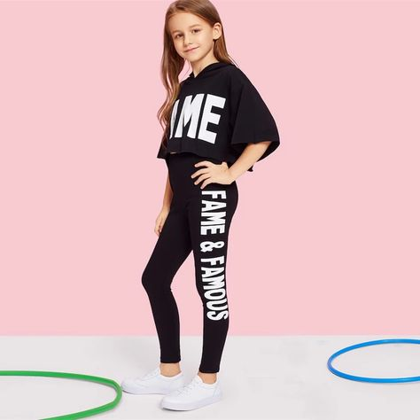 Black Letter Print Hooded Top And Pants Set Girls Clothes – gagokid