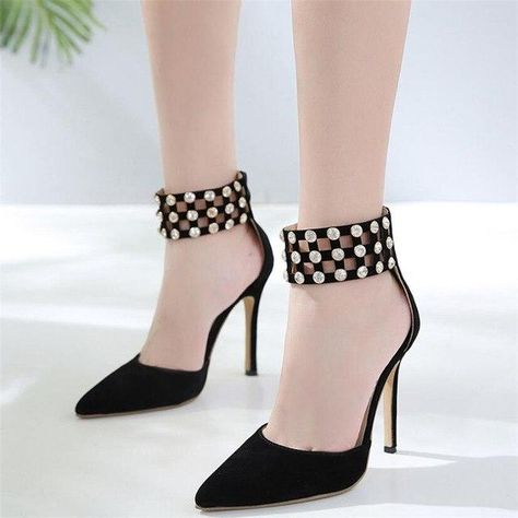 6f7471650de BAYUXSHUO Rhinestone High Heels Women Fashion Hollow Pointed Toe ...