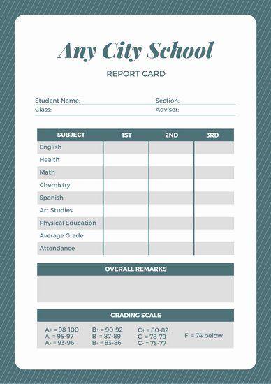 Simple Report Card Template Inspirational Customize 592 Elementary School Report Card Templates School Report Card Report Card Template Book Report Templates