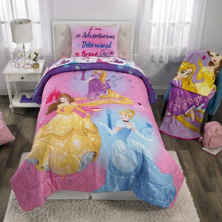 Disney Princesses Bed In A Bag Kids Bedding Bundle Set Microfiber Cinderella Belle Ariel And Rapunzel 4 Piece Twin Walmart Com Disney Princess Bedding Princess Bed Comforter Sets