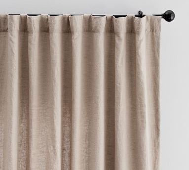Classic Belgian Flax Linen Blackout Curtain Mocha Linen