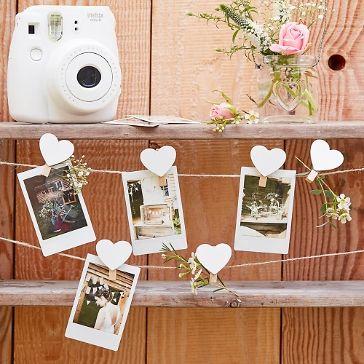 Fotoleine Mit 16 Herz Clips Weiss 5 M Foto Girlande Puzzle Hochzeit Girlanden Dekoration