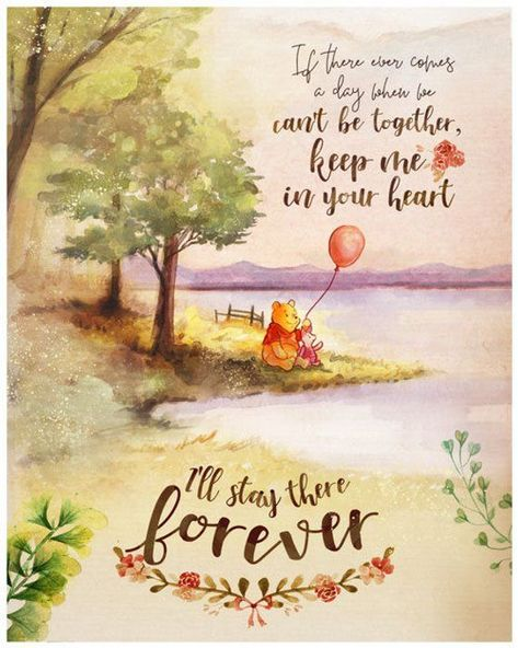 Winnie the Pooh Keep Me In Your Heart Quote, Piglet Watercolour Wall Art Print, Nursery Decor, Printable Digital Download, Large Poster - Paris Disneyland Pictures