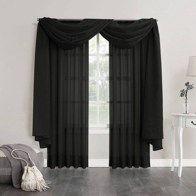Emily Sheer Voile Window Curtain Scarf Black 59 X216 No 918