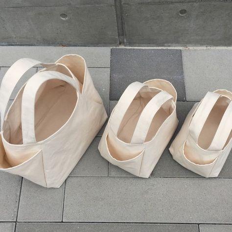 よくばりサイドポケット 帆布 大容量 Lサイズバッグ【生成り 】 ハンドバッグ ココーチコ 通販 Creema(クリーマ) ハンドメイド・手作り・クラフト作品の販売サイト